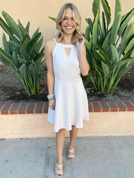 Cream Beige Sleeveless Keyhole A-Line Dress