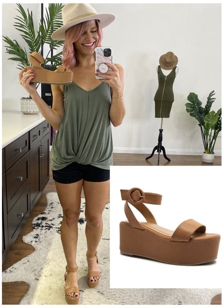 Camel Strappy Stylish Wedge Sandals