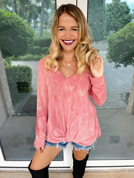 Pink Mineral Wash Soft Twist Long Sleeve Top
