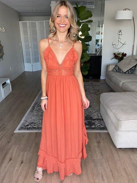 Boho Apricot Lace Trim Back Tie Maxi Dress | Adjustable Straps