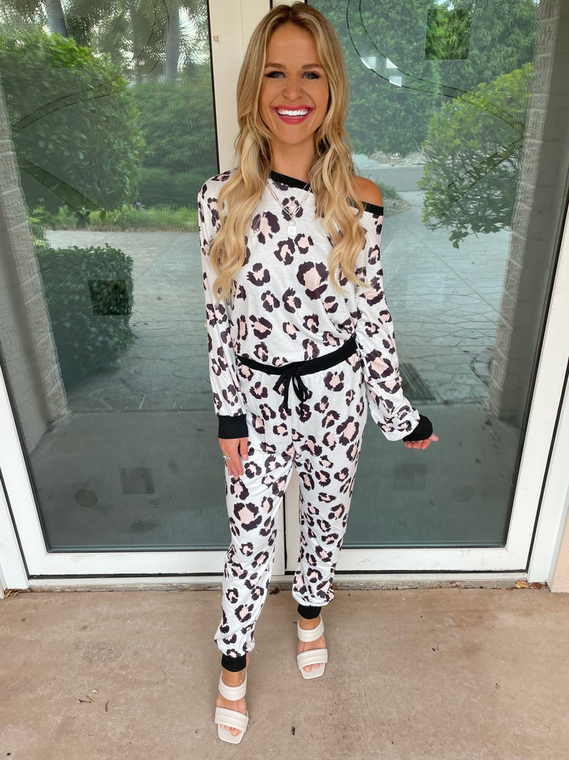 White Leopard Long Sleeve Sabrina Top & Joggers Set