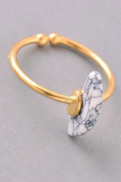 *SALE* Howlite Crescent Gemstone Adjustable Ring