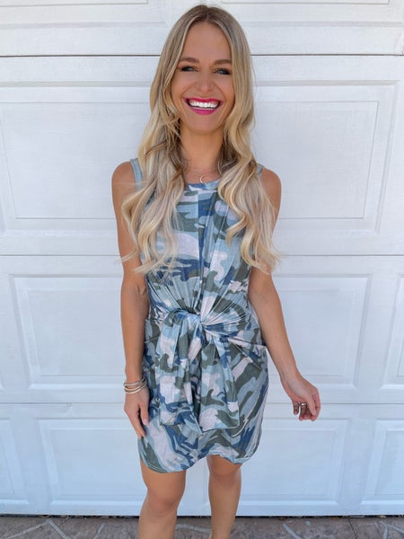 Camo Tie Front Sleeveless Mini Dress