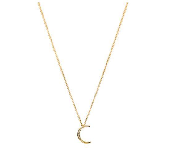 14 Karat Gold CZ Crescent Moon Pendant Necklace