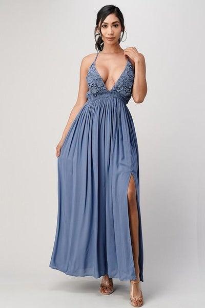 Pacific Blue Boho Lace Trim Maxi Dress | Adjustable Straps