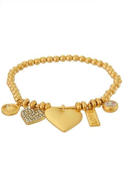 Gold Heart Stretch Charm & CZ Stone Bracelet