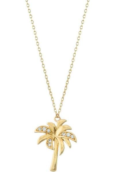 Gold Palm Tree Pendant Necklace