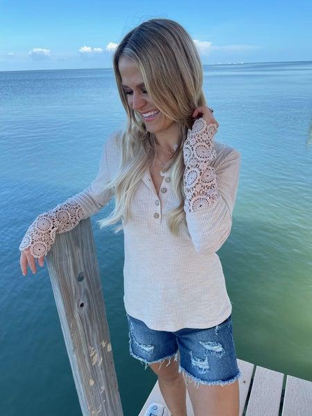 Angel Beige Crochet Lace Hem Sleeve Button Top