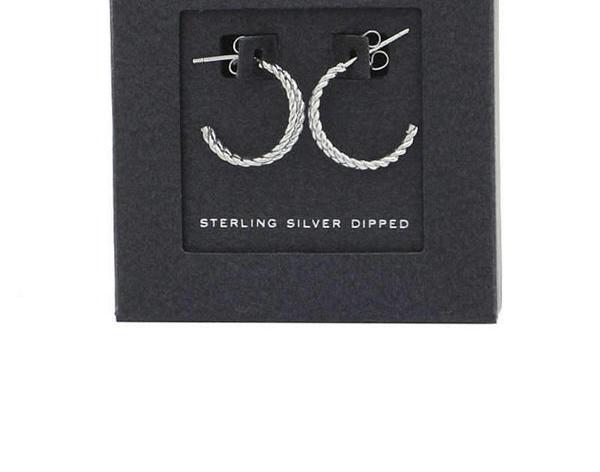 Sterling Silver Double Hoop Huggie Earrings