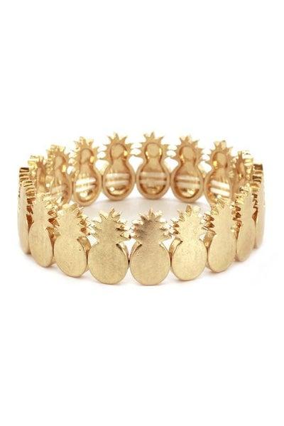 Gold Pineapple Charm Stretch Bracelet