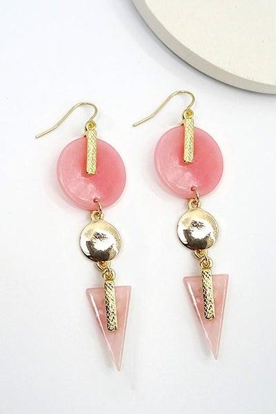 Gold & Pink Bohemian Drop Earrings