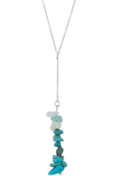 Turquoise Lariat Semi Precious Stone Y Necklace