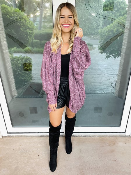 Berry Two-Tone Dolman Sleeve Cocoon Cardigan