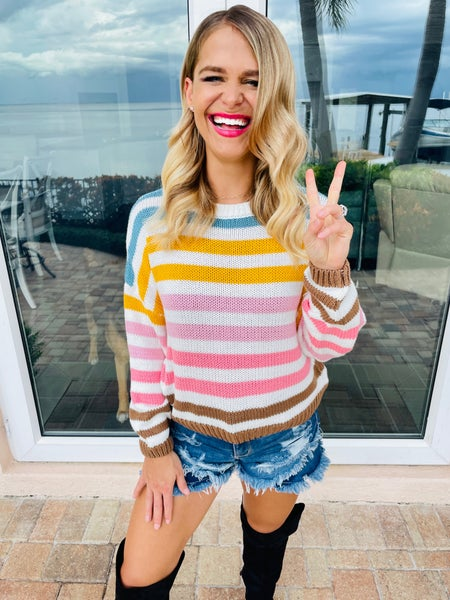 Multi Color Knit Long Sleeve Stretchy Sweater