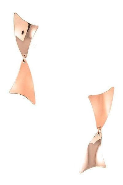 Elegant Rose Gold Double Link Drop Earrings