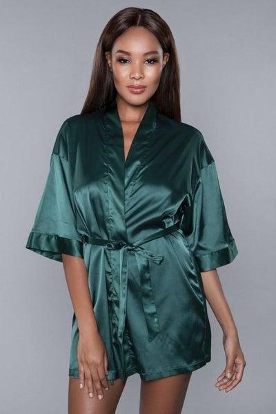 Midnight Green Satin Sash Getting Ready Robe