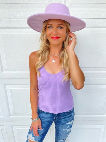 Lilac Ribbed Flattering Racer Back Tank Top