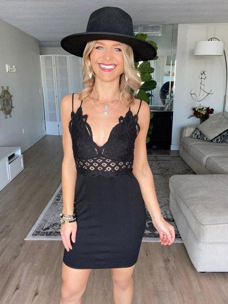 Black Crochet Lace Trim Bodycon Dress | Adjustable Straps