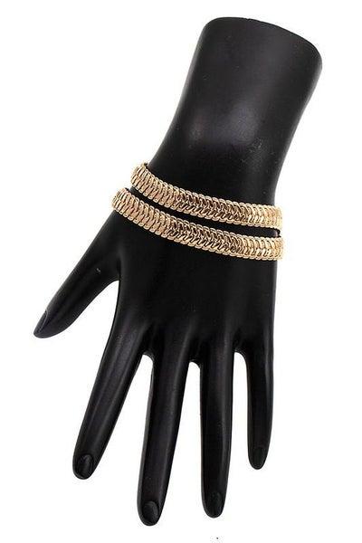 Luxe Gold Chevron Flat Chain Wrap Bracelet