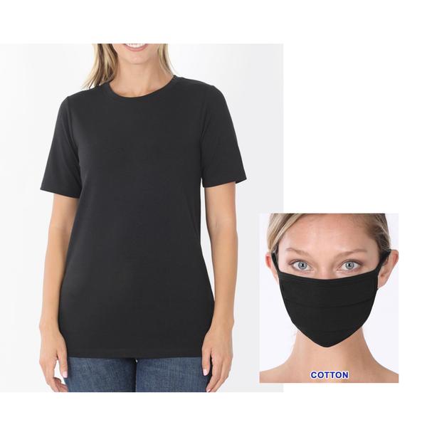 Leah Essential Black Tee + Mask Set