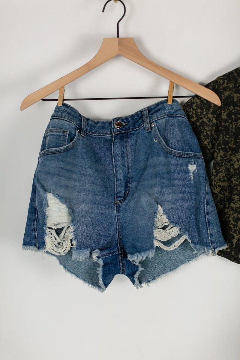 Plus Distressed Shorts
