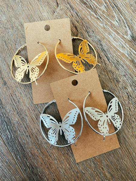 Fly Home Butterfly Hoops