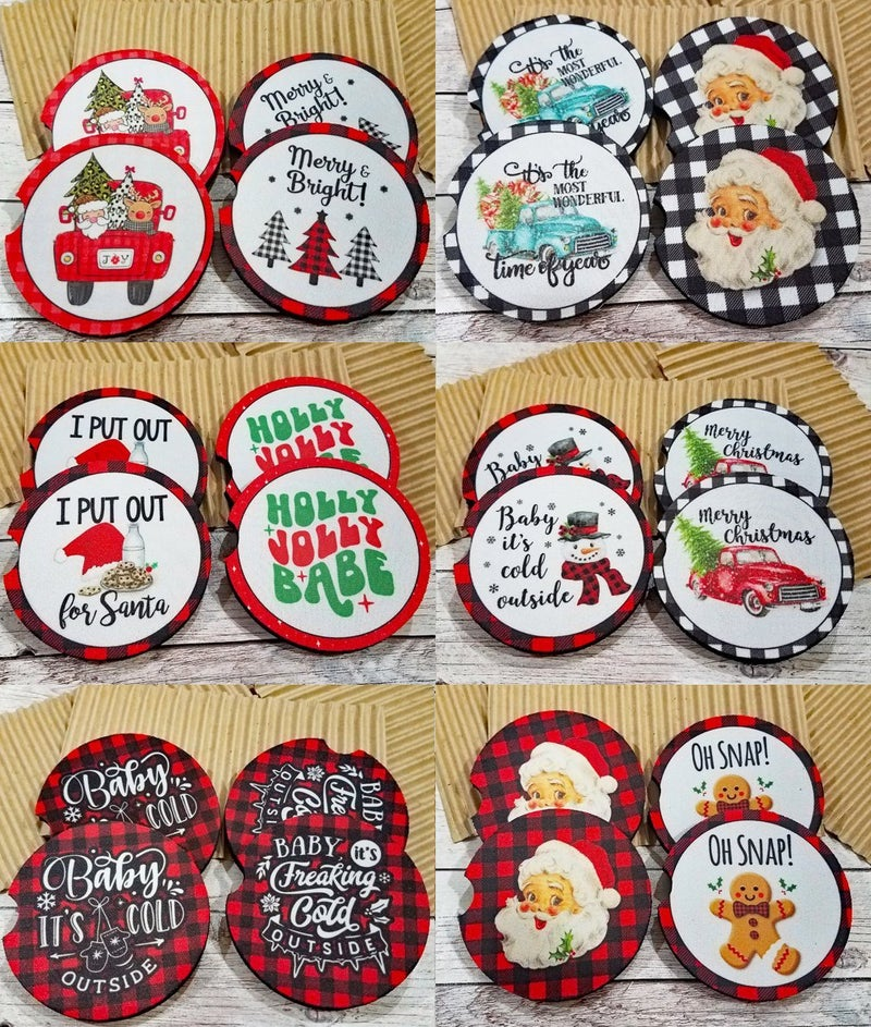 Bright and Merry Car Coasters