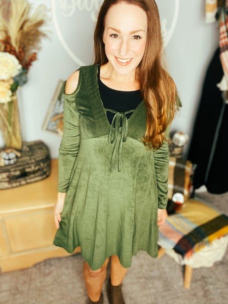 Get It Girl Green Ribbed Dress