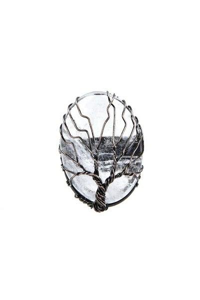 Tree of Life Clear Quartz Ring