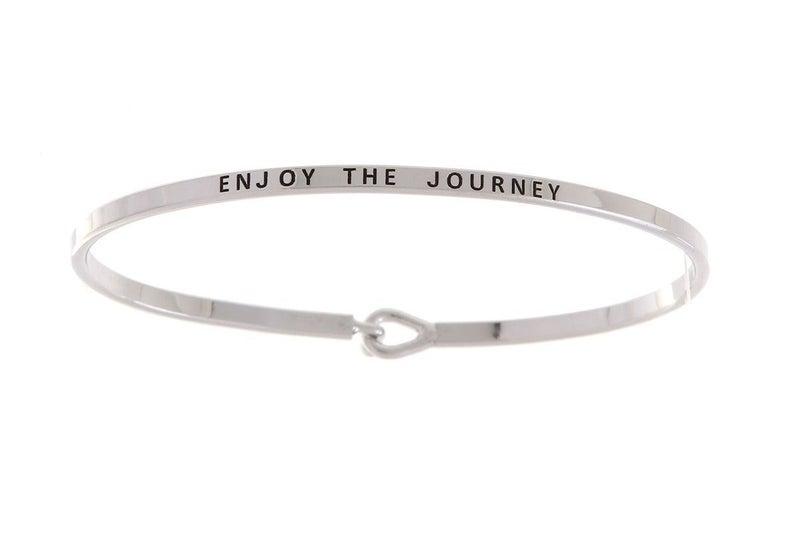 Silver Enjoy The Journey Simple Stamped Bracelet