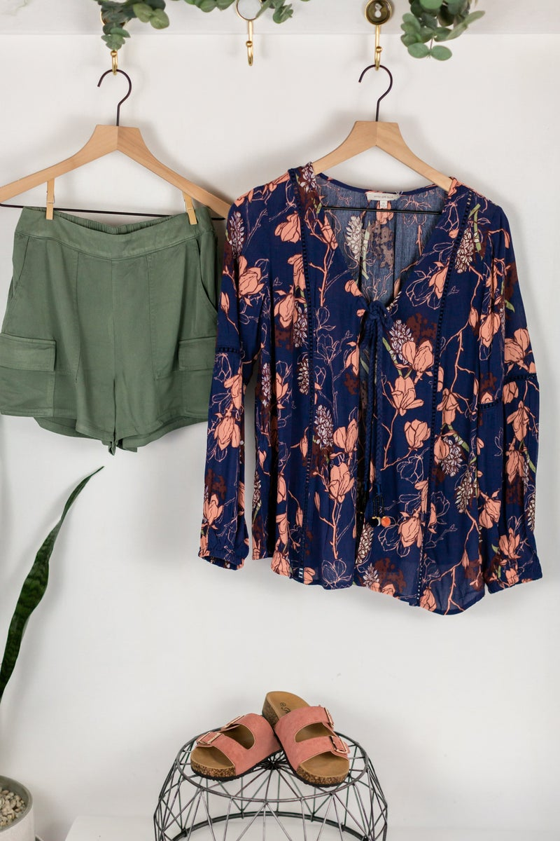 Best Blooms Tie Front Blouse by Skies Are Blue