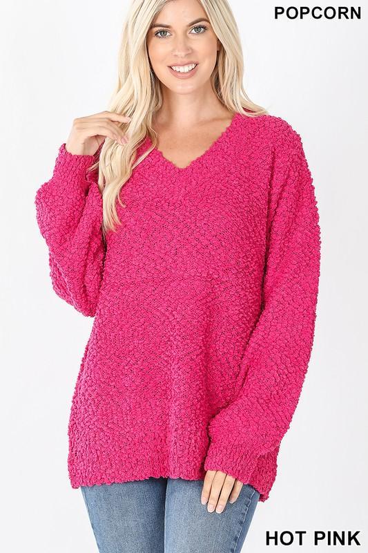Doorbuster: Hot Pink Popcorn Sweater