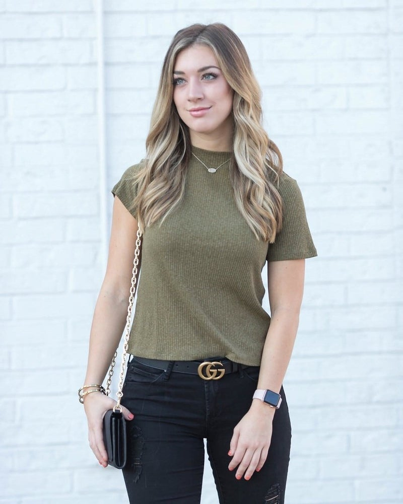 Doorbuster: Olive Fall Mock Neck Tee by B.P.