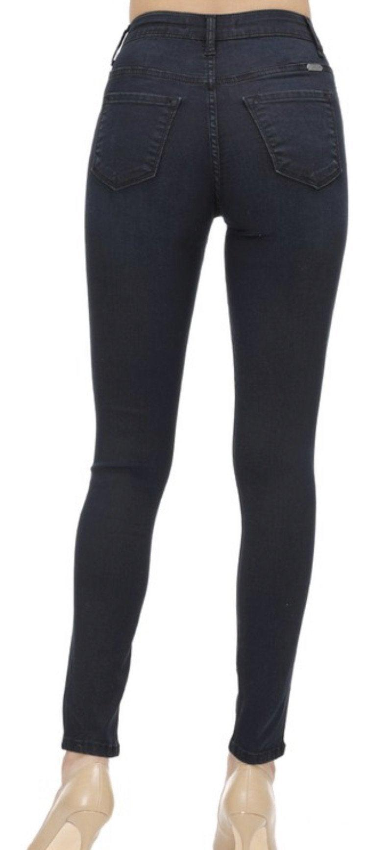 Charcoal Black Denim Skinnies by Kan Can