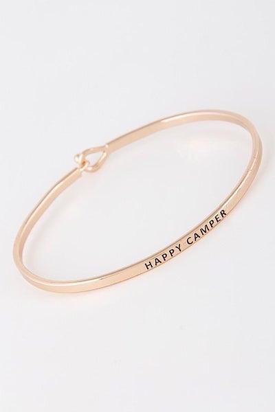 Rose Gold Happy Camper Simple Stamped Bracelet