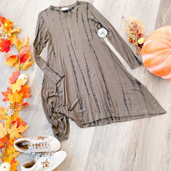 Wild For Fall: Olive Tie Dye Dress by Crepas