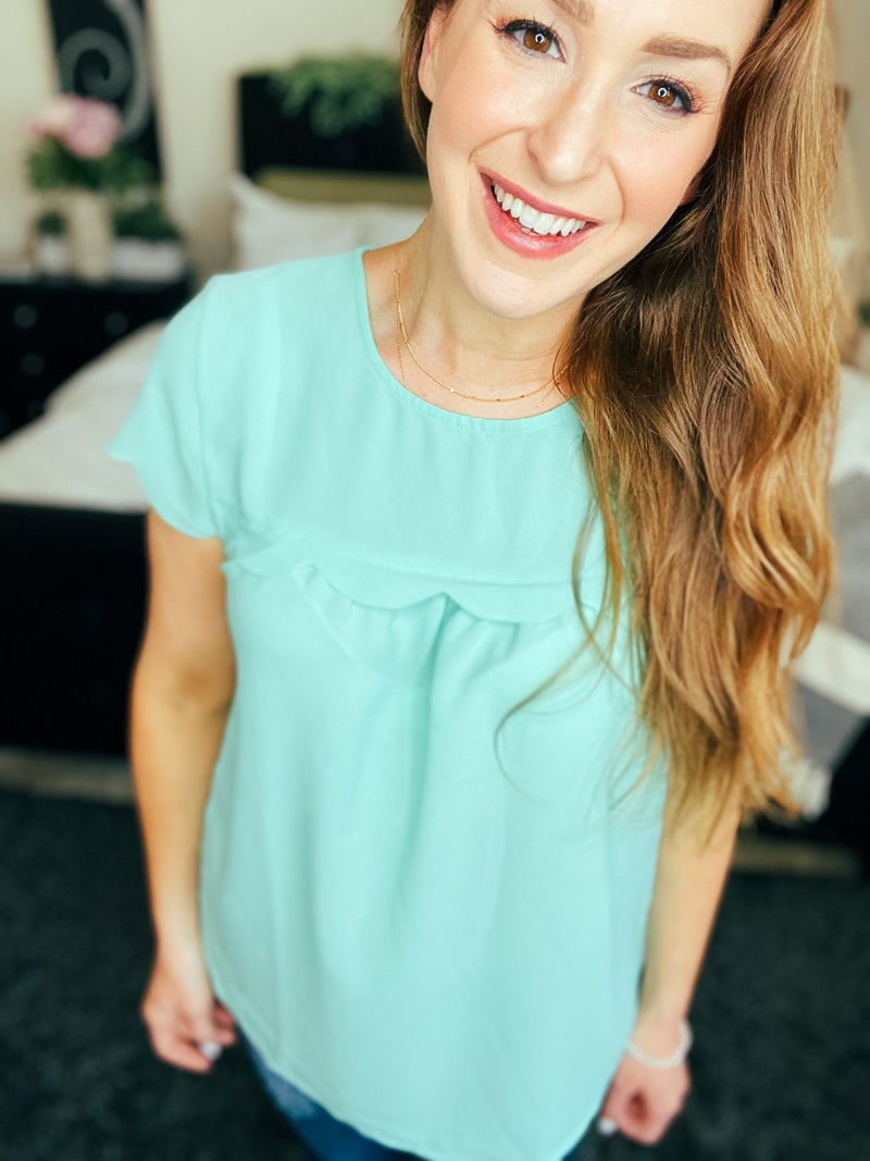 Mint To Be Scallop Detail Blouse by Gibson