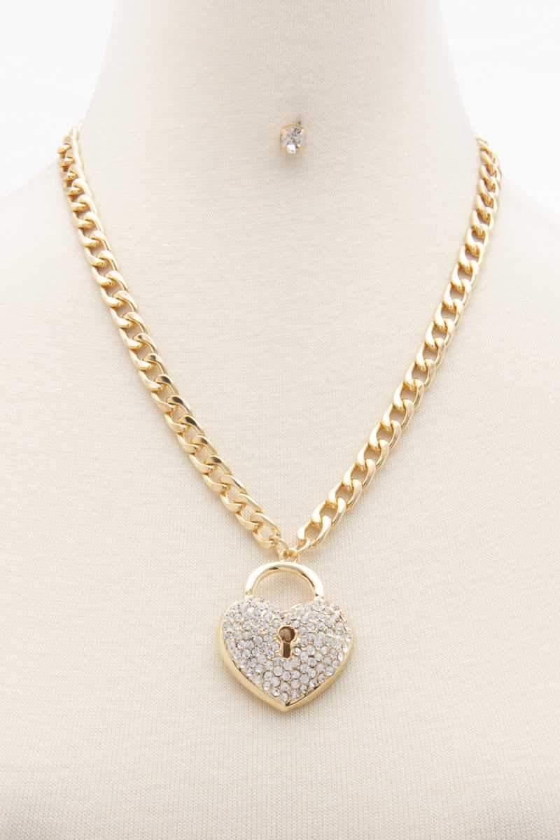 Locking Hearts Necklace Set