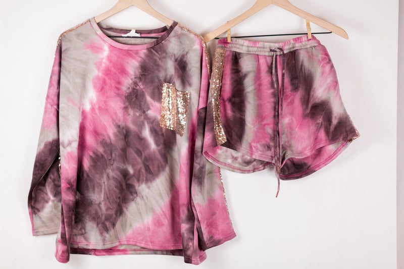 Pink Tie Dye + Sequins, Oh My! Loungies