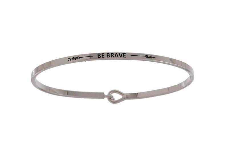 Silver Be Brave Simple Stamped Bracelet