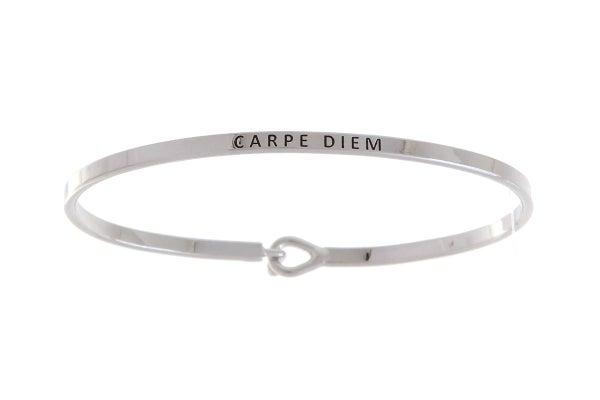 Silver Carpe Diem Simple Stamped Bracelet