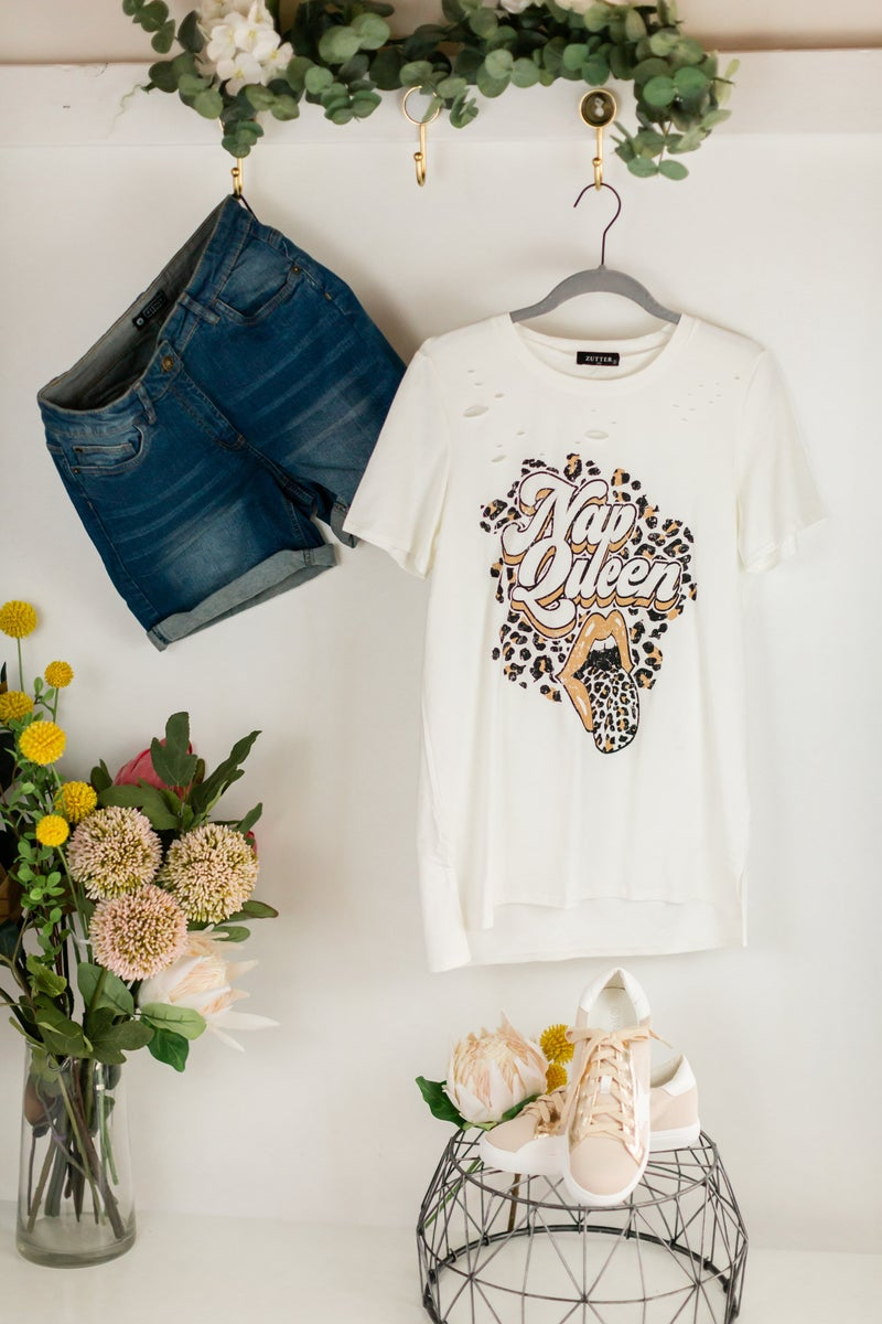 Nap Queen Distressed Tee by Zutter