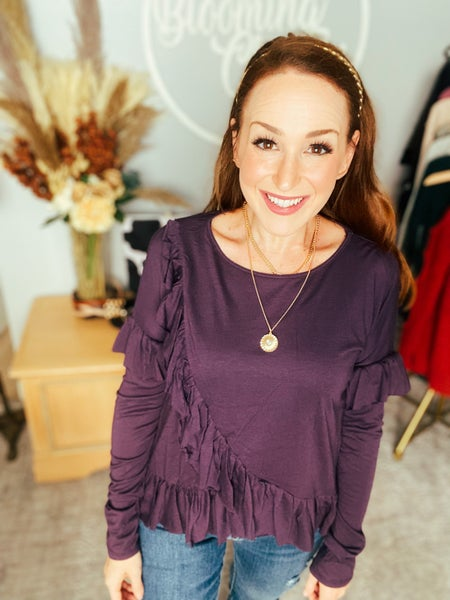 Ruffle Me This Plum Top by Mustard Seed