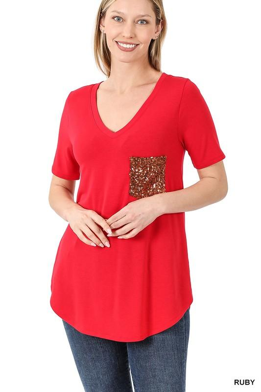 Doorbuster: Sequin Pocket Short Sleeve Tee