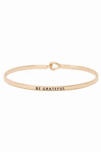 Rose Gold Be Grateful Simple Stamped Bracelet