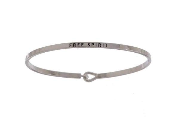 Silver Free Spirit Simple Stamped Bracelet