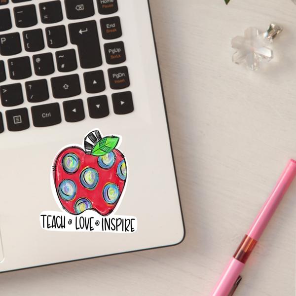 Teach, Love, Inspire Apple Sticker