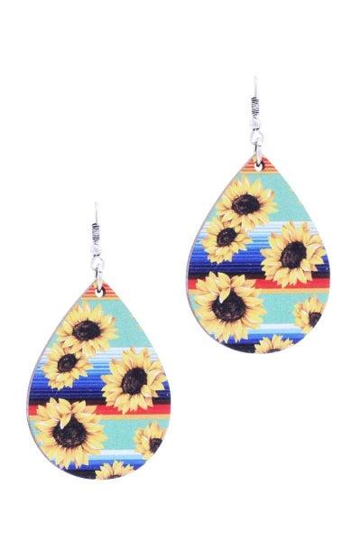 Wood Sunflower Earrings