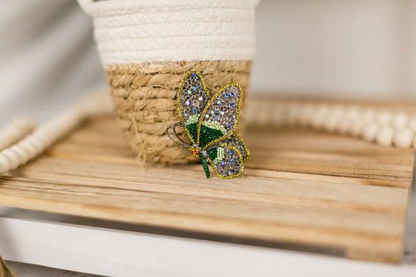 Emerald Butterfly Broach
