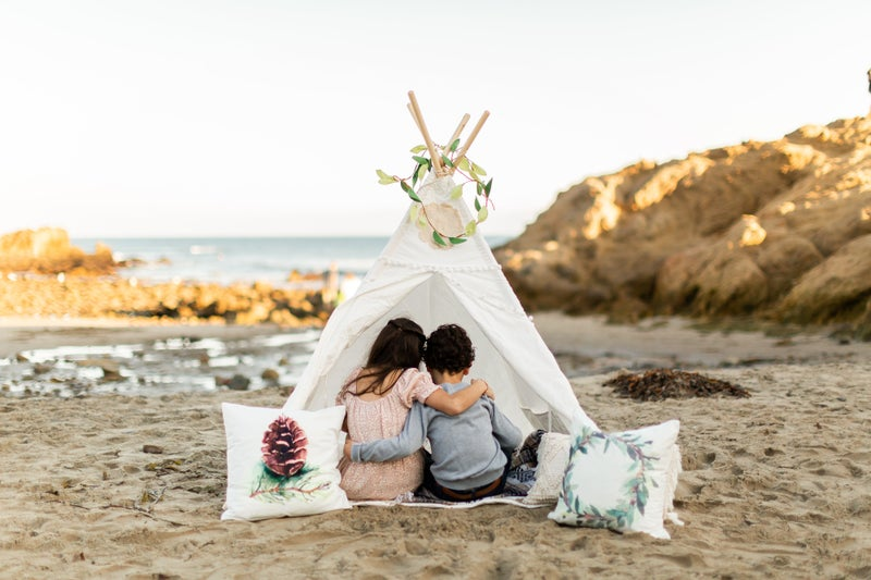 White Crochet Cut Out Teepee